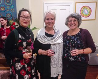 Prof Dai Fan, Liz Byrski and Lucy Dougan at the Centre for Stories